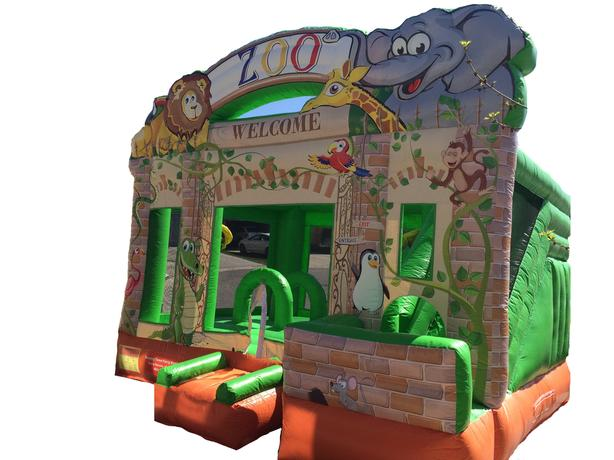 Large Zoo Slide Combo Bouncy Castle Rental!