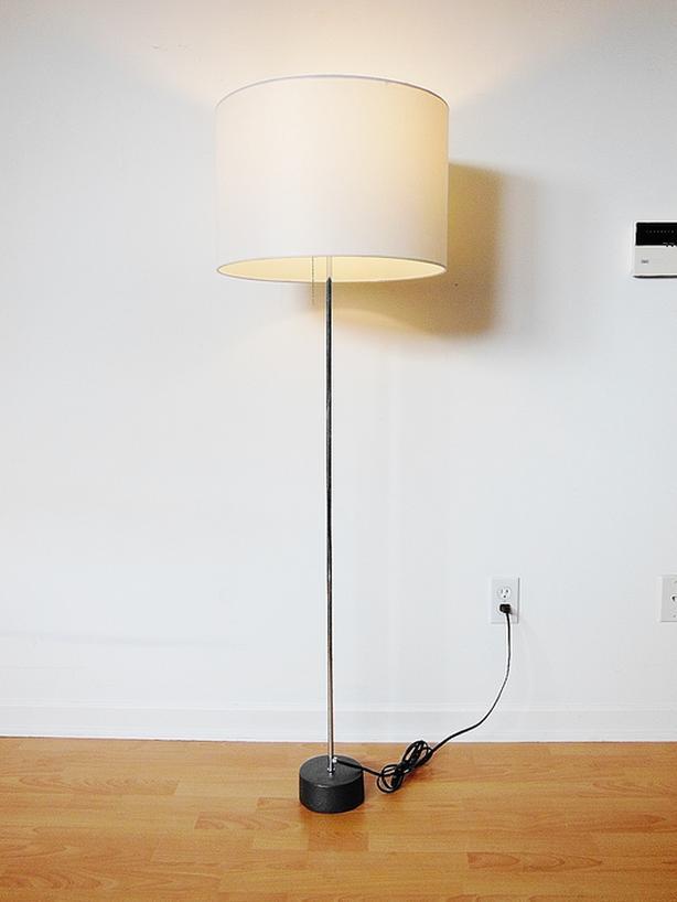 Modern Contemporary Floor Lamp - Chrome Frame, Iron Base, White Shade