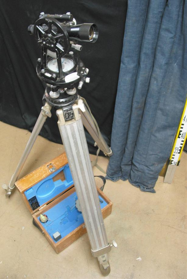 Transit with Tripod and Wood Box; Measuring Sticks available separately