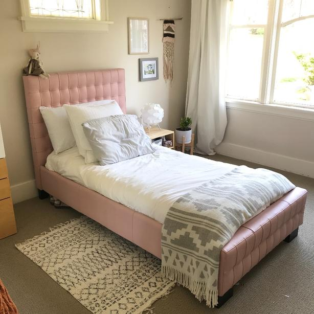 Full Grain Leather Girls Pink Twin Bed Headboard And