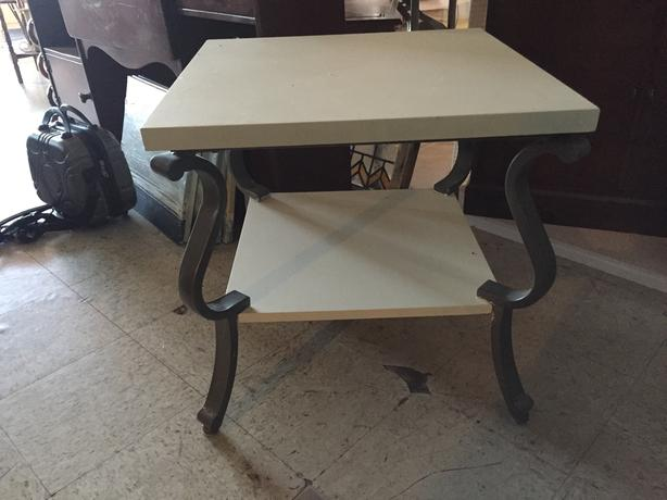 White & Metal 2 Tier Side table
