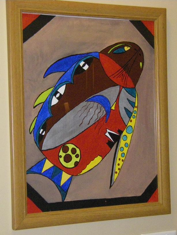 """Platypus Duck"".  Acrylic.  Framed. 22.5 x 18.5. Abstract."