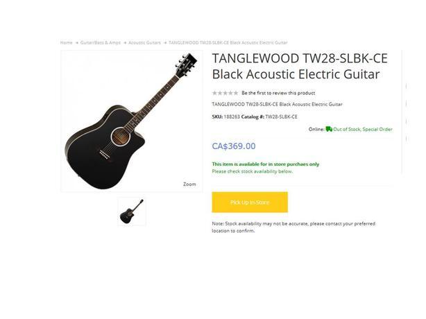 **PRICE REDUCED** Gloss Black Tanglewood A/E Guitar