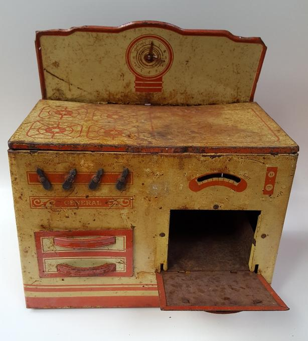 Vintage General Metal Toys LTD Tin Toy Stove Oven Lithograph Kitchen