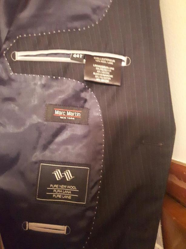 midnight blue, pinstriped suit (pants and jacket)