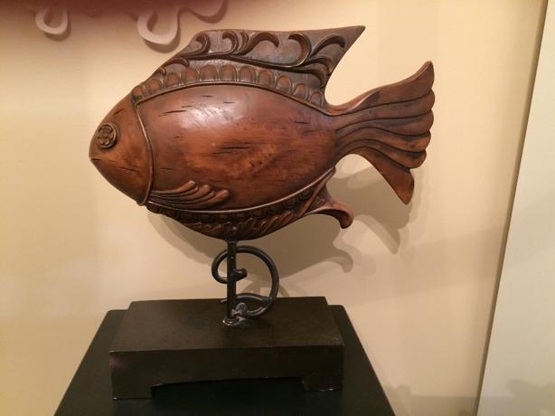 Wooden Carved Fish on Black Metal Base