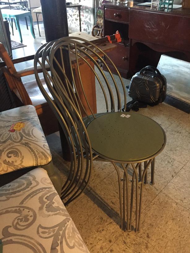 Wood/metal chair - painted green