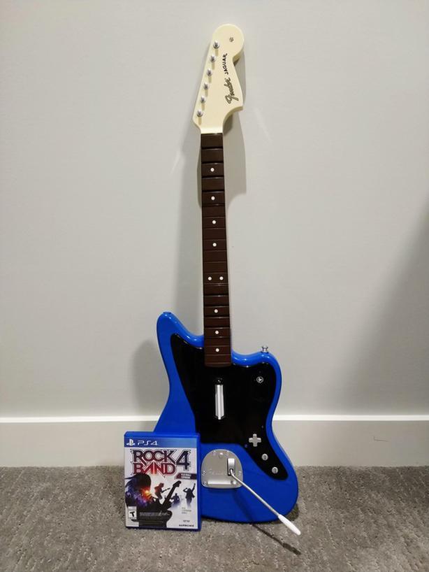 PS4 Rock Band 4 Bundle w/ Rivals & Blue Guitar