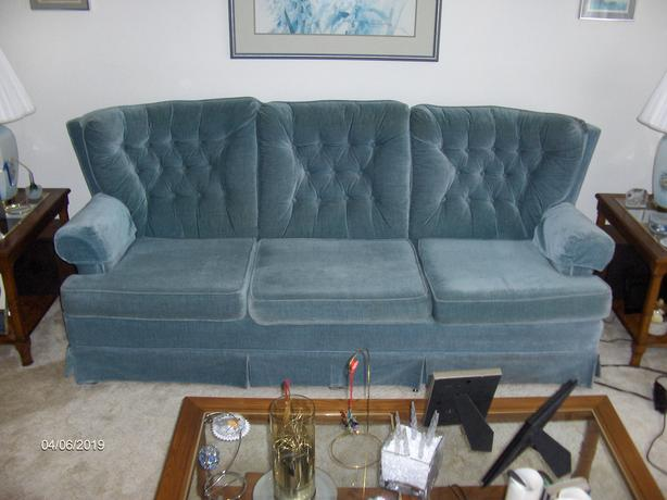 Couch and Matching Chair - Hardwood Frame