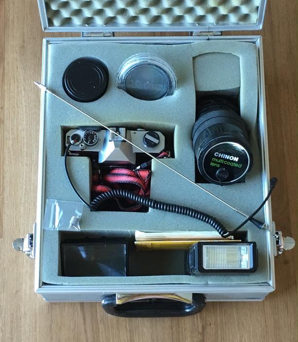 Vintage camera, METAL BAG, lens, flash, filter BUNDLE