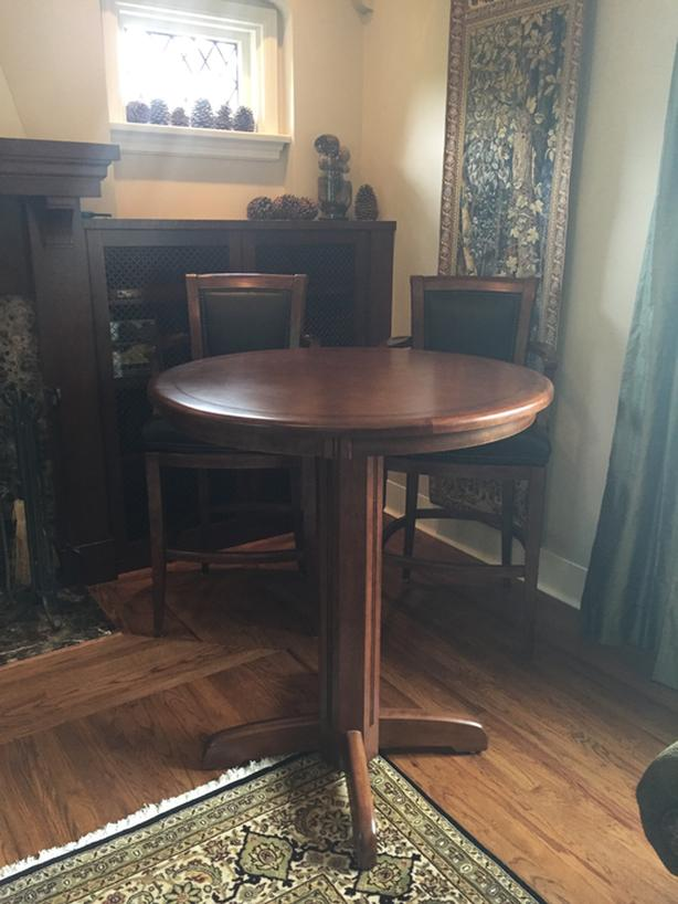 Bar Table with Two Leather Chairs
