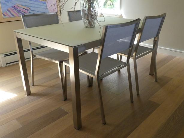 Modern Steel & Glass Dining Table with 4 Chairs