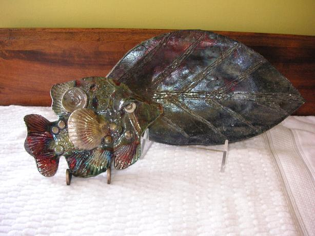 HANDCRAFTED  FISH AND LEAF RAKU POTTERY