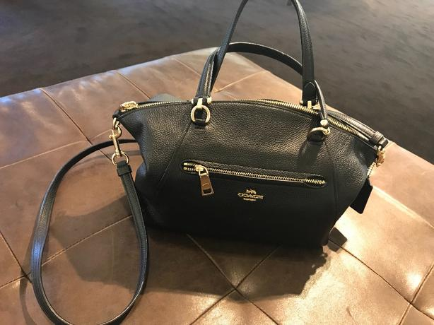 coach prairie satchel black pebble leather