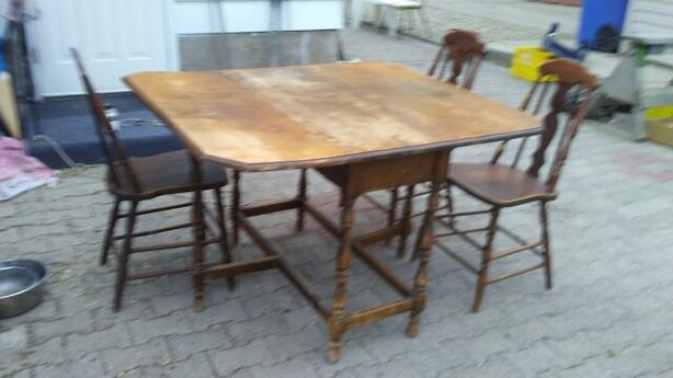 2-drop leaf Table & 3 chairs...over 100 years old