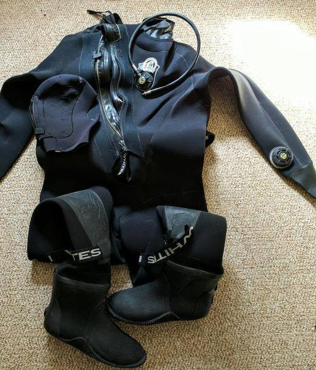 Custom Made Whites Diving Scuba Dry Suit XL Tall