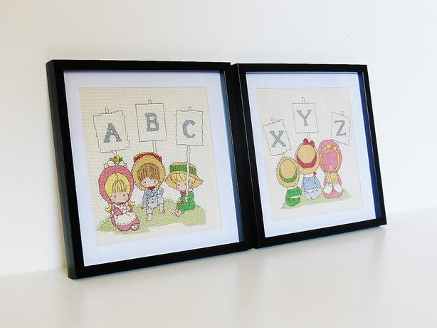Framed Needlepoint Cross Stitch Embroidery - Precious Moments Alphabet - 2pc