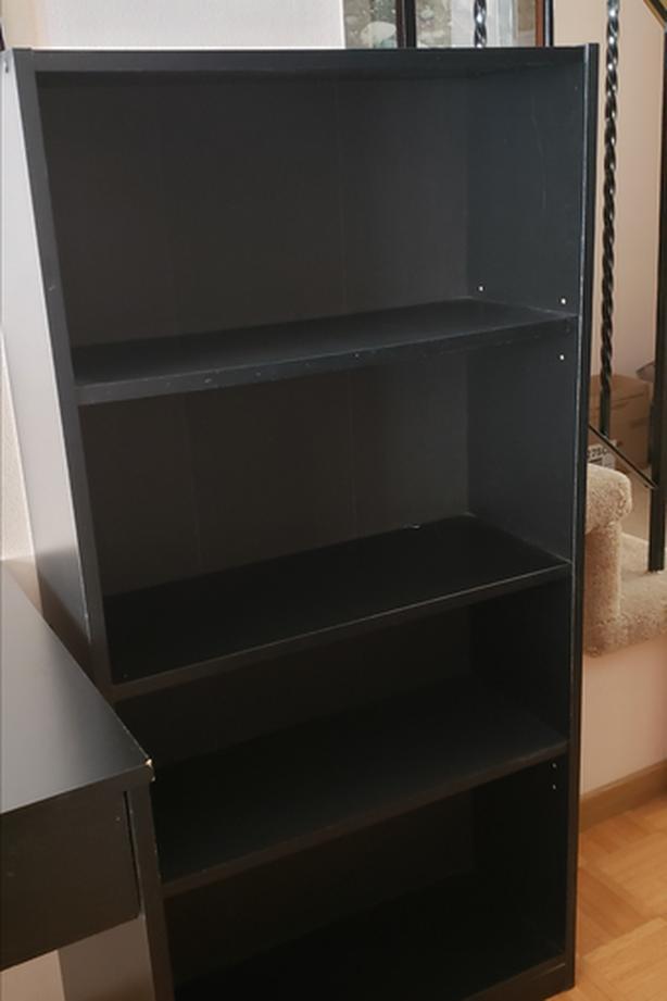 Black book case; 3 shelves