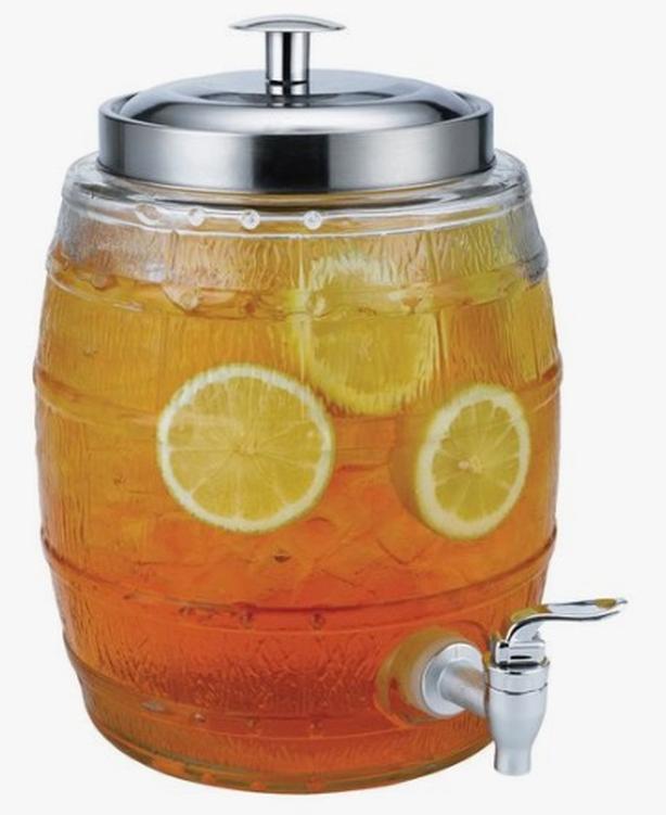 DEL SOL BARREL GLASS MASON JAR BEVERAGE DISPENSER -- NEW