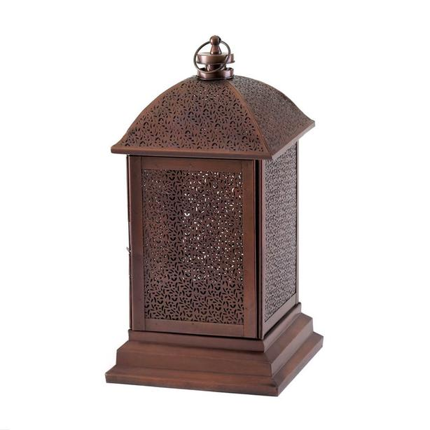 "14"" Burnished Bronze Candle Lantern Intricate Cutout Detailing 3 Lot Exotic New"