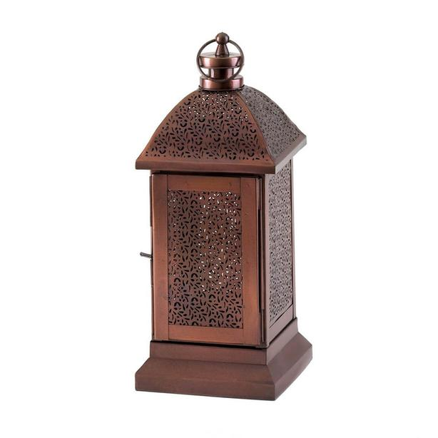 """12"""" Burnished Bronze Candle Lantern Intricate Cutout Detailing 4 Lot Exotic New"""