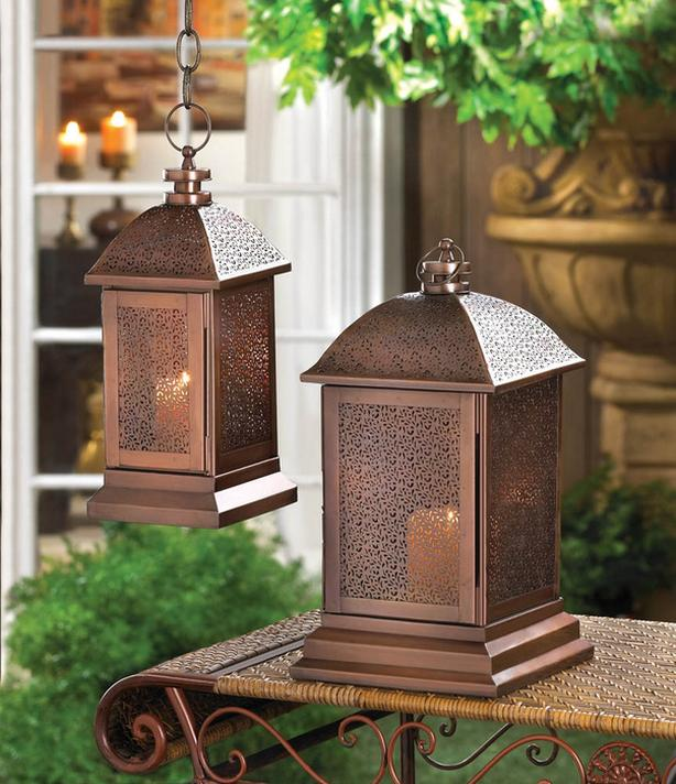 Bronzed Candle Lantern Intricate Cutout Detailing Lg&Sm 4 Lot Mixed Exotic New