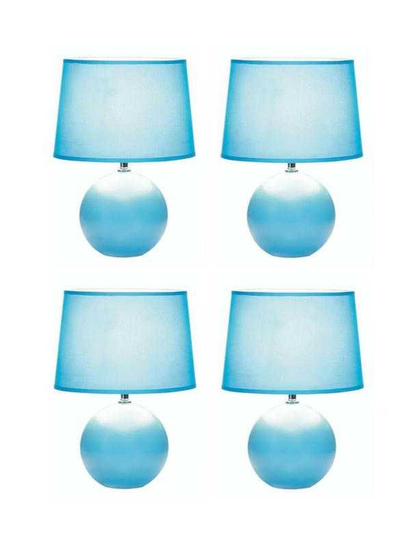 Blue Ceramic Table Lamp Round Globe Base & Matching Fabric Shade Set of 4 NEW