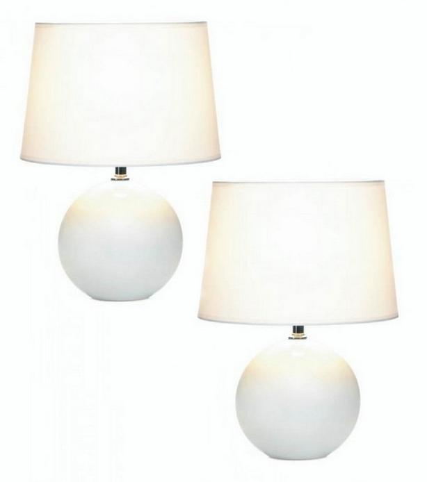 White Ceramic Table Lamp Round Globe Base & Matching Fabric Shade Set of 2 NEW