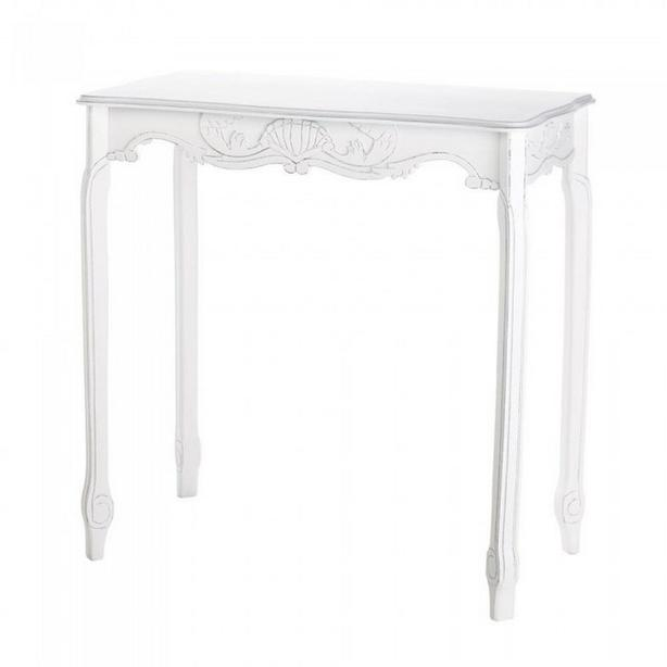 Aged Distressed White Wood Console Hall Table with Scalloped Detailing New