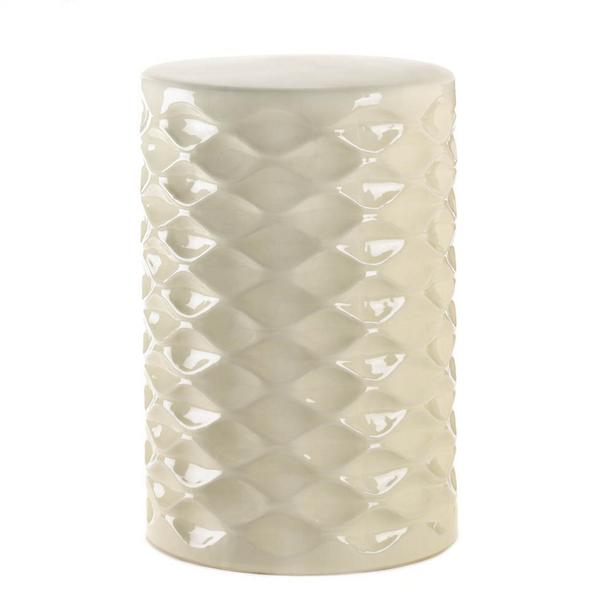 Indoor Outdoor Ivory-Faceted Ceramic Stool Accent Side Table Plant Stand