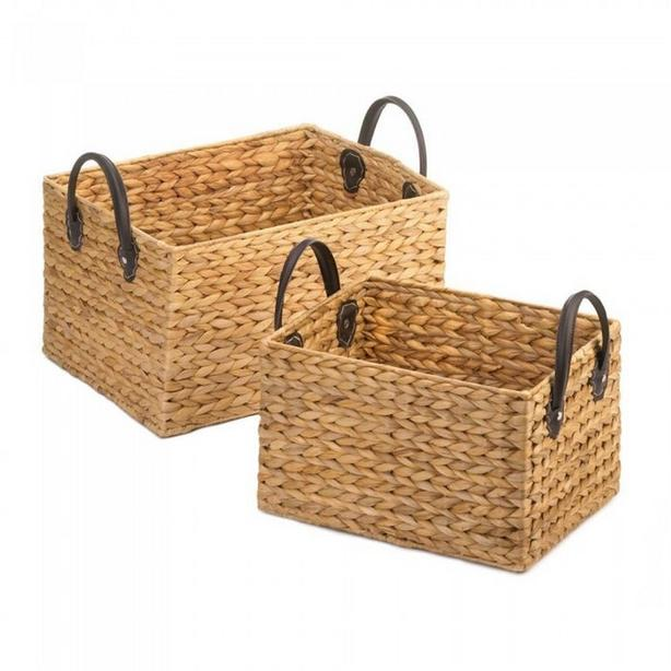 Wicker Rectangle Storage Bin Basket Set 2PC & 3PC Mixed Lot New