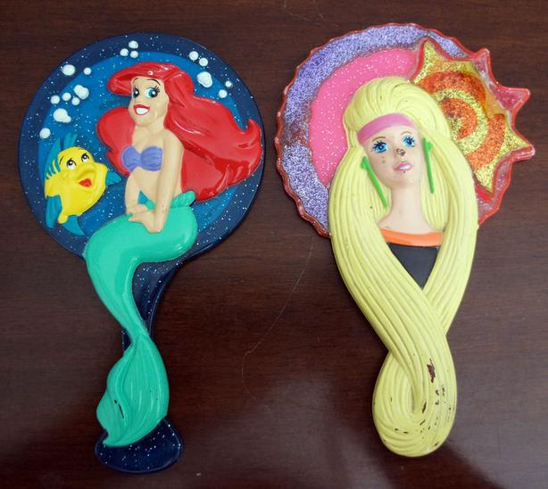 Two vintage Toys Mirrors Barbie and Little Mermaid