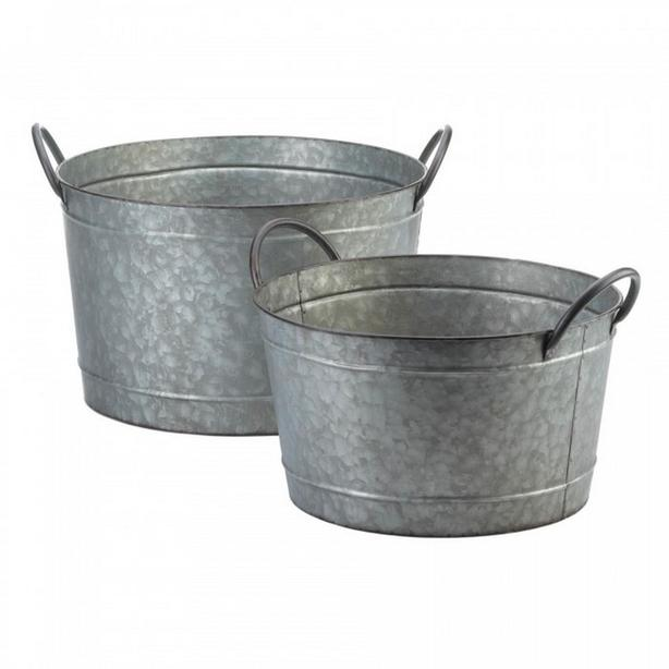 Rustic Country Farmhouse Style Metal Bucket Tub Planter Set 2 Diff Choice