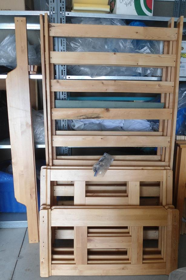 WOOD BUNK BED FRAME SINGLE OVER SINGLE