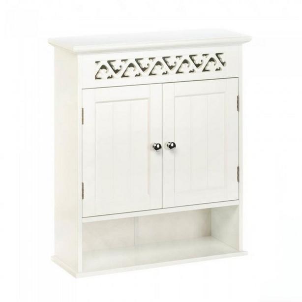 Double Door Wall Cabinet Cupboard Open Display Shelf & Cutout Ivy Lattice Trim
