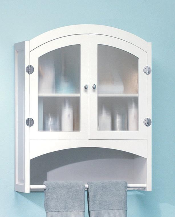 Bathroom Wall Cabinet with Towel Bar & Frosted Opaque Glass Doors New White