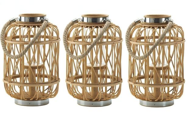 """12"""" Woven Rattan Rustic Wood Hurricane Candle Lantern with Rope Handle 3 Lot NEW"""