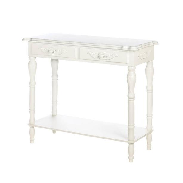Decorative White Wood Console Entryway Hall Table 2 Drawers & Display Shelf NEW
