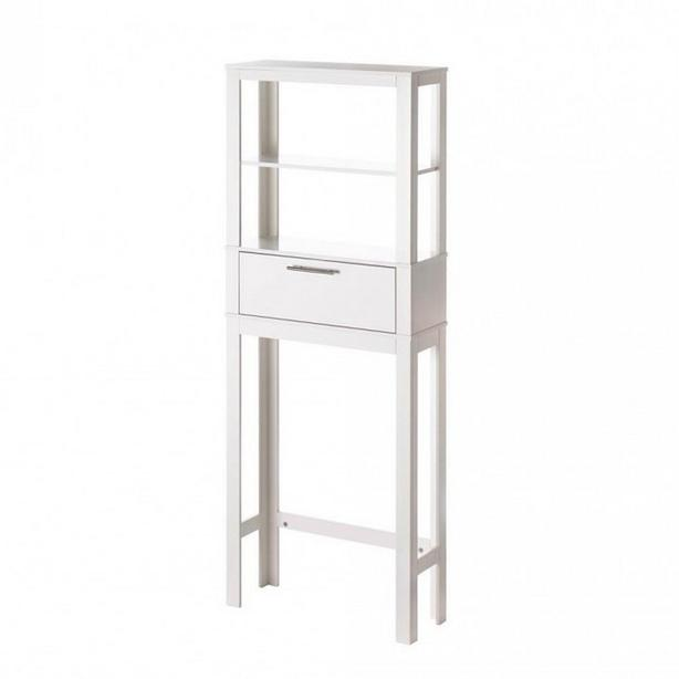 White Wood Spacesaving Over Toilet Shelf 2 Shelves & Enclosed Compartment NEW