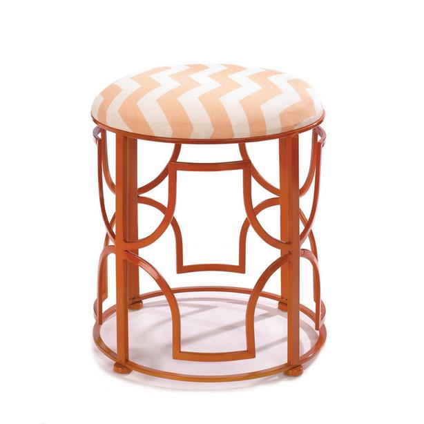 Chic Orange Geometric Metal Stool Seat Chevron Pattern Fabric Top