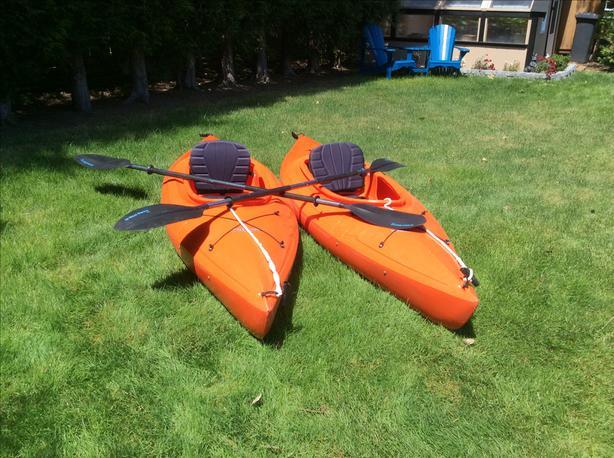 2 lightweight plastic Mainstream Streak kayaks with paddles