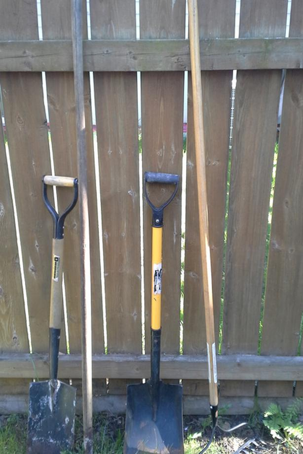 Used rake and shovel
