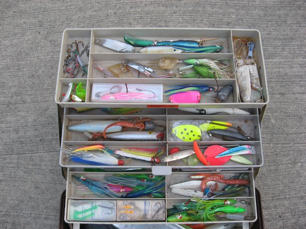 Saltwater tackle fishing box with contents salmon cod