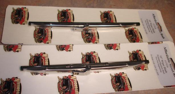 "Pair of polished stainless steel 10"" wiper blades for street rod"