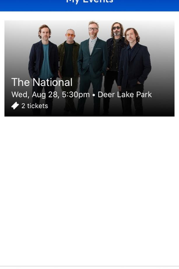 2 tickets for The National Aug 28 in Burnaby
