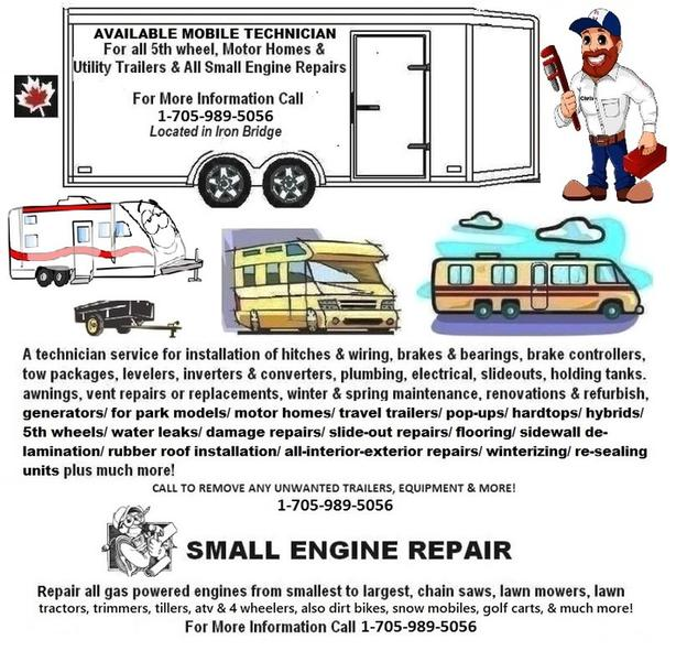 RV-TECH FOR ALL TRAILERS & ALL SMALL ENGINE REPAIR SERVICE-ELLIOT LAKE ETC.