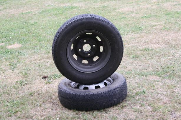 1 Pair of GOODYEAR T-Metric 155R12 76S M&S Tires on rims