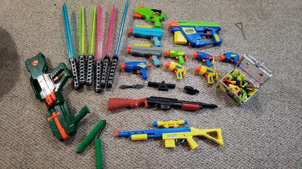 Nerf style toys, darts, and toy swords