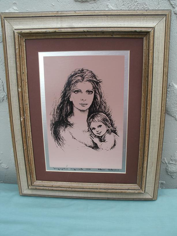 """Mother & Child - Framed Lithograph 12"""" x 16"""""""