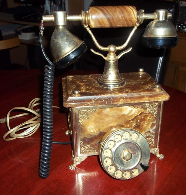 Vintage Marble 24 kt Gold Plated Rotary Telephone